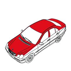 Zeichnung von einem Auto, die Zone A kennzeichnet
