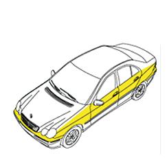 Zeichnung von einem Auto, die Zone B kennzeichnet