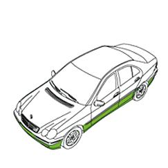 Zeichnung von einem Auto, die Zone c kennzeichnet