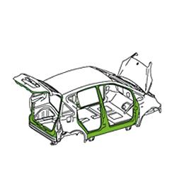 Zeichnung von einem Auto, die Zone D kennzeichnet